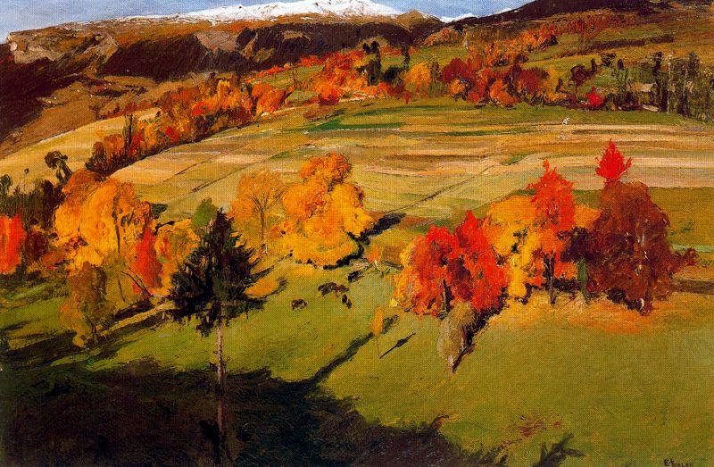 Деревья осенью.  Ernest Biéler