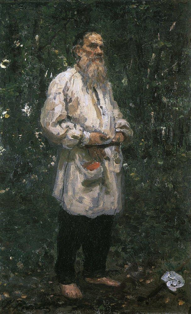 Илья Ефимович Репин. Л. Н. Толстой босой. Этюд одноименного портрета