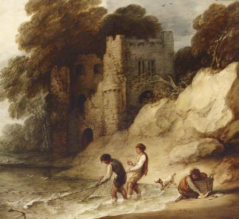 Томас Гейнсборо. Скалистое побережье с разрушенным замком и рыбаками. Фрагмент