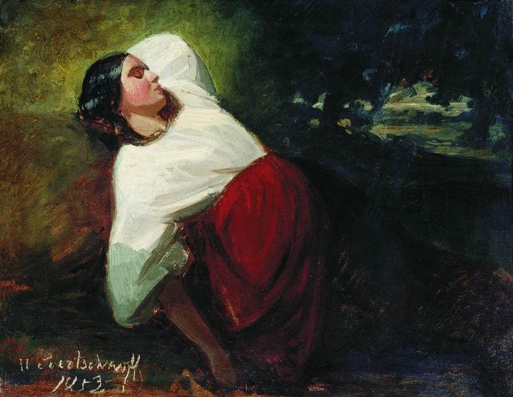 Николай Егорович Сверчков. Спящая девушка. 1853 Этюд
