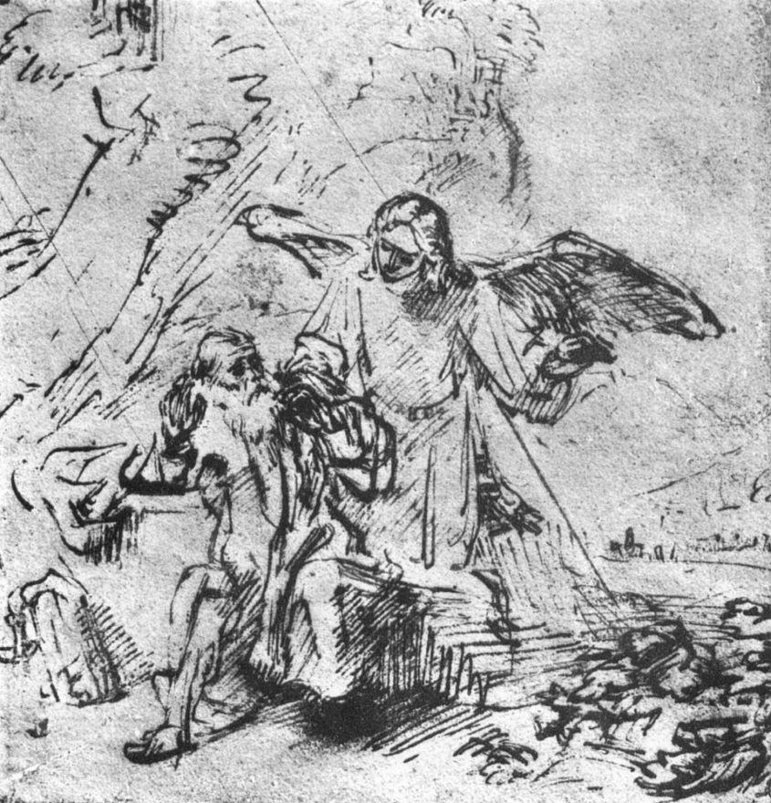 Рембрандт Ван Рейн. Илия и ангел в пустыне