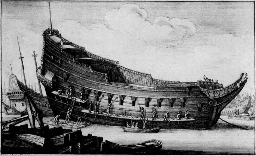 Венцель Холлар. Корпус корабля в доке