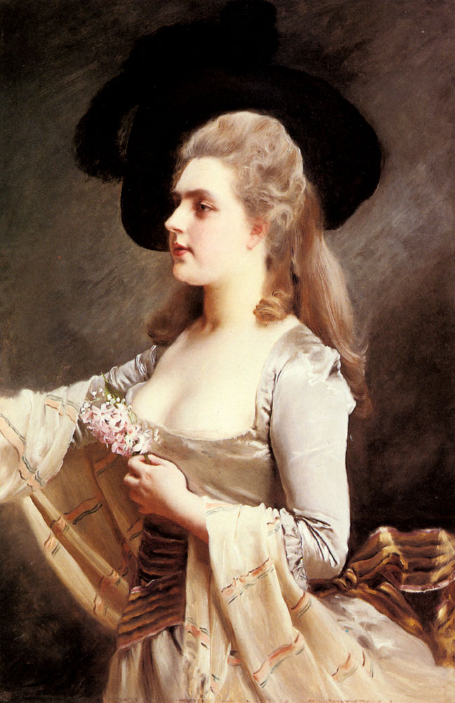 Elegant lady in a black hat by Gustave Jean Jacquet: History ...