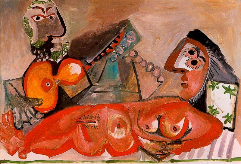 Пабло Пикассо. Лежащая обнаженная и мужчина, играющий на гитаре