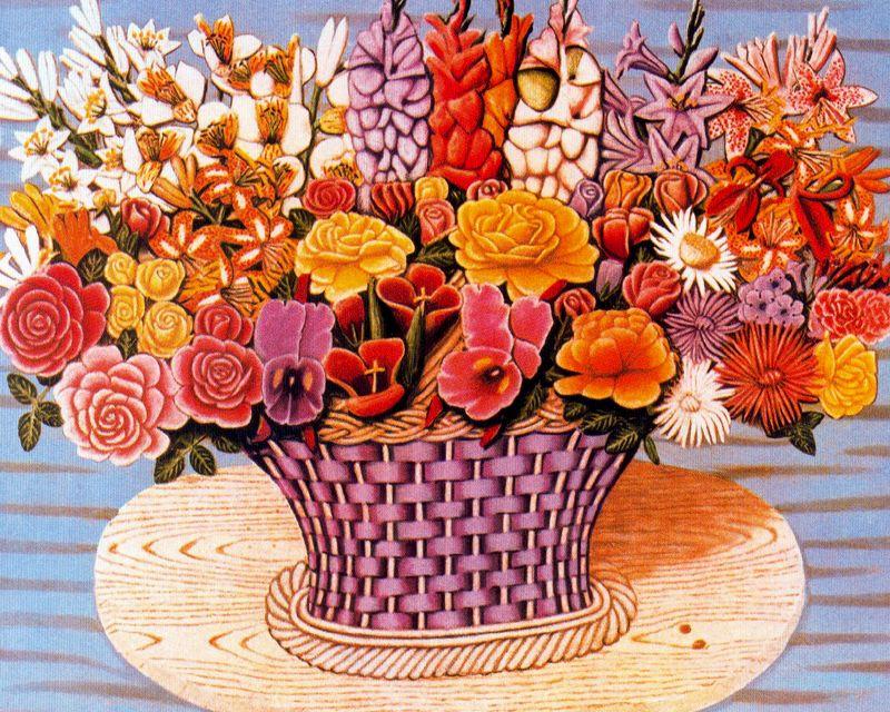 Хигинио Маллебрера. Букет цветов в корзине