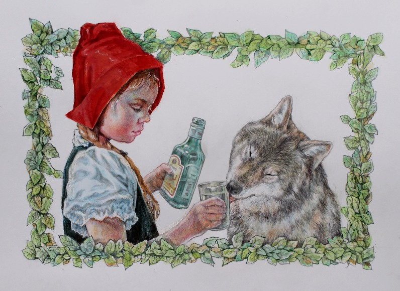 Alexander Petrovich Botvinov. Little red riding Hood and Grey Wolf