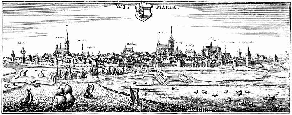 Маттеус Мериан Старший. Висмар, вид с северо-запада