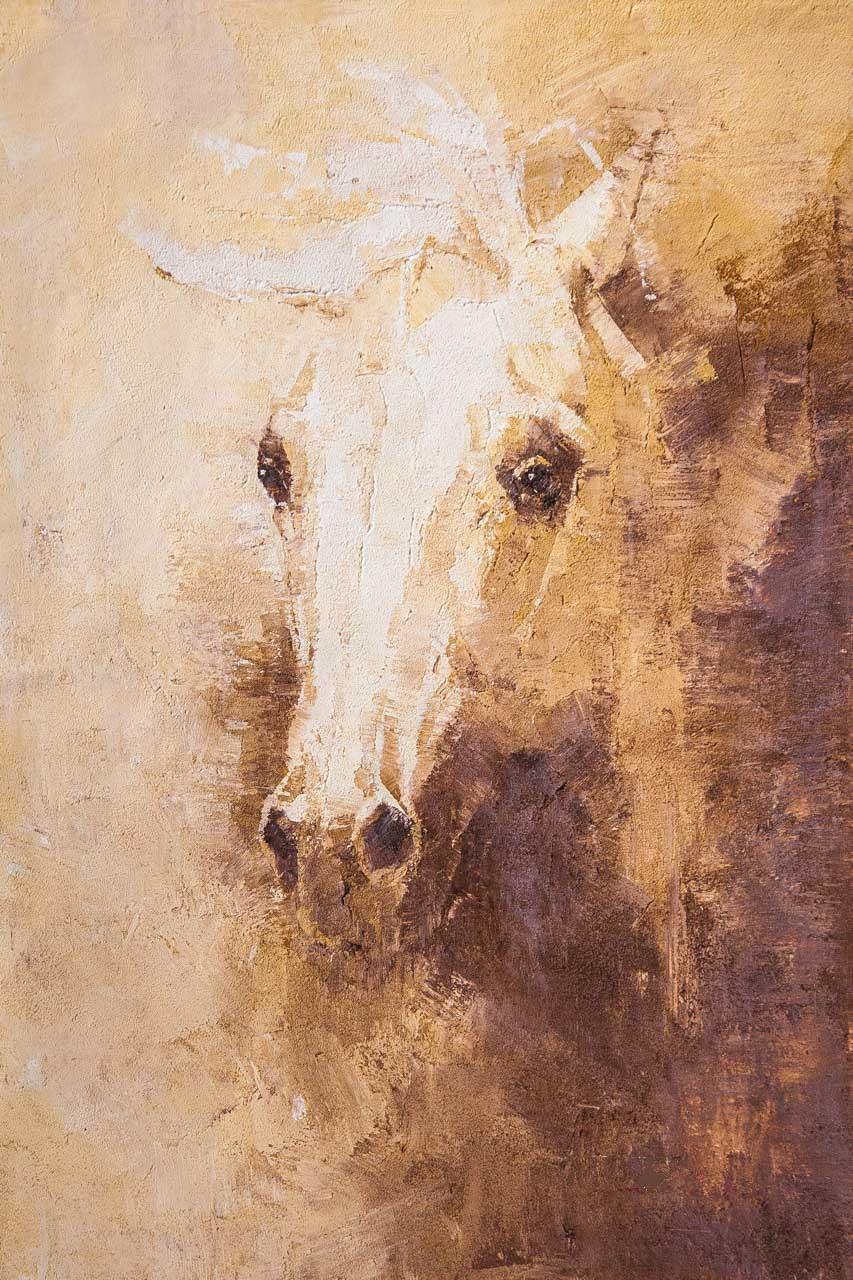 Savely Kamsky. Портрет белой лошади. Дымка