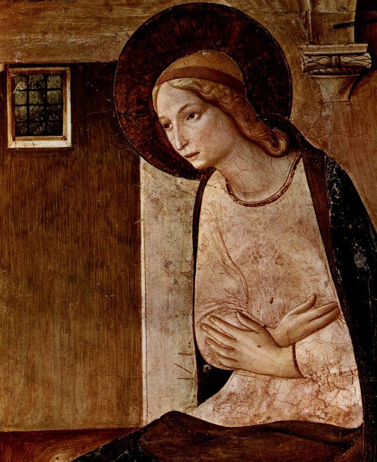 Фра Беато Анджелико. Цикл фресок доминиканского монастыря Сан Марко во Флоренции, сцена: Благовещение, деталь: Мария