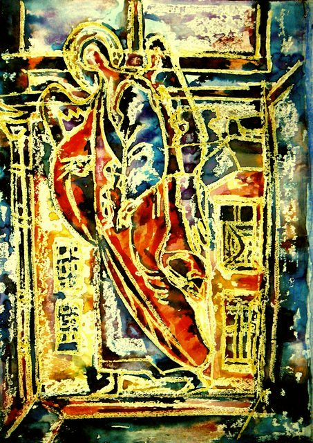 Sergey druzyaka. Angel in the window. watercolor