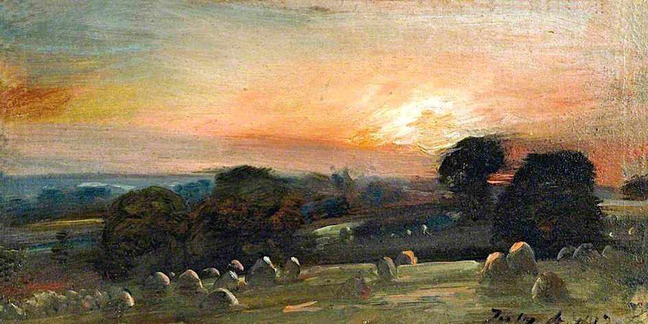 John Constable. Rye field near East Bergholt at sunset. Victoria and Albert Museum, London.