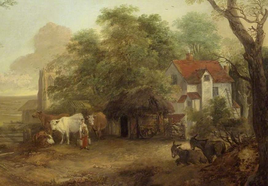 Томас Гейнсборо. Ферма с молочницей и ослами. Фрагмент II