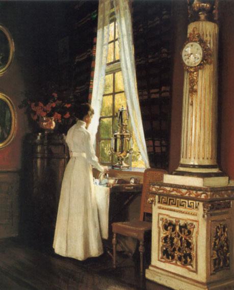 Моллер Харальд Слотт. Девушка в белом у окна