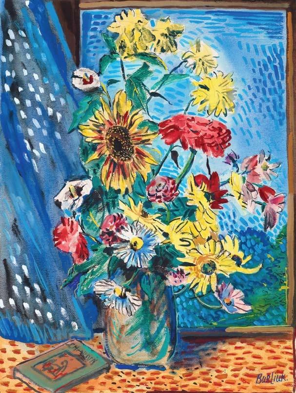 David Davidovich Burliuk. Still life with flowers and book