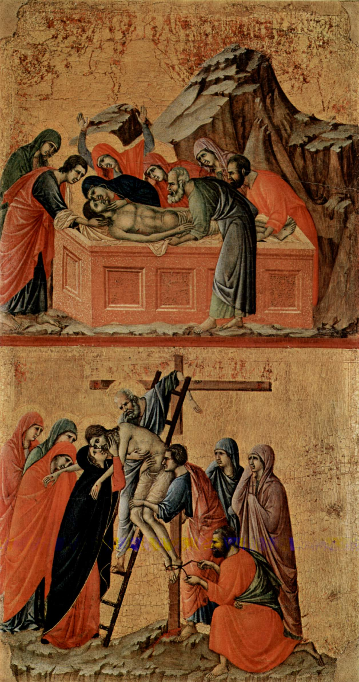 Duccio di Buoninsegna. Maesta, altar of Siena Cathedral, reverse side, Register with scenes of the passion of Christ: entombment and SAEs