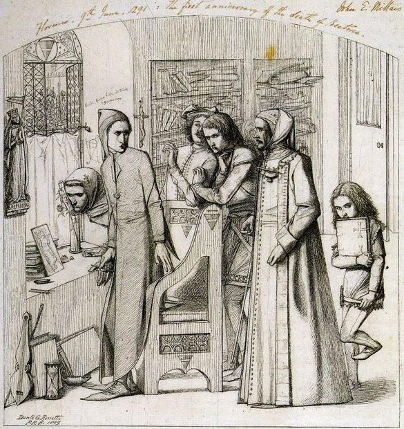 Данте Габриэль Россетти. Данте рисует ангела (Первая годовщина смерти Беатриче)