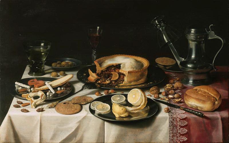 Pieter Claesz. Still Life with Jug, Cake and Lemon