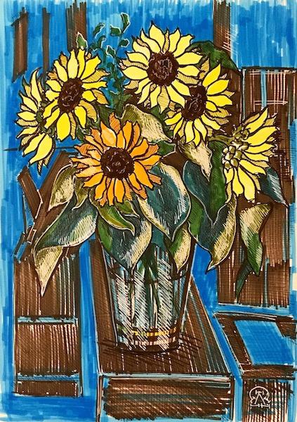 Larissa Lukaneva. Decorative sunflowers. Sketch.