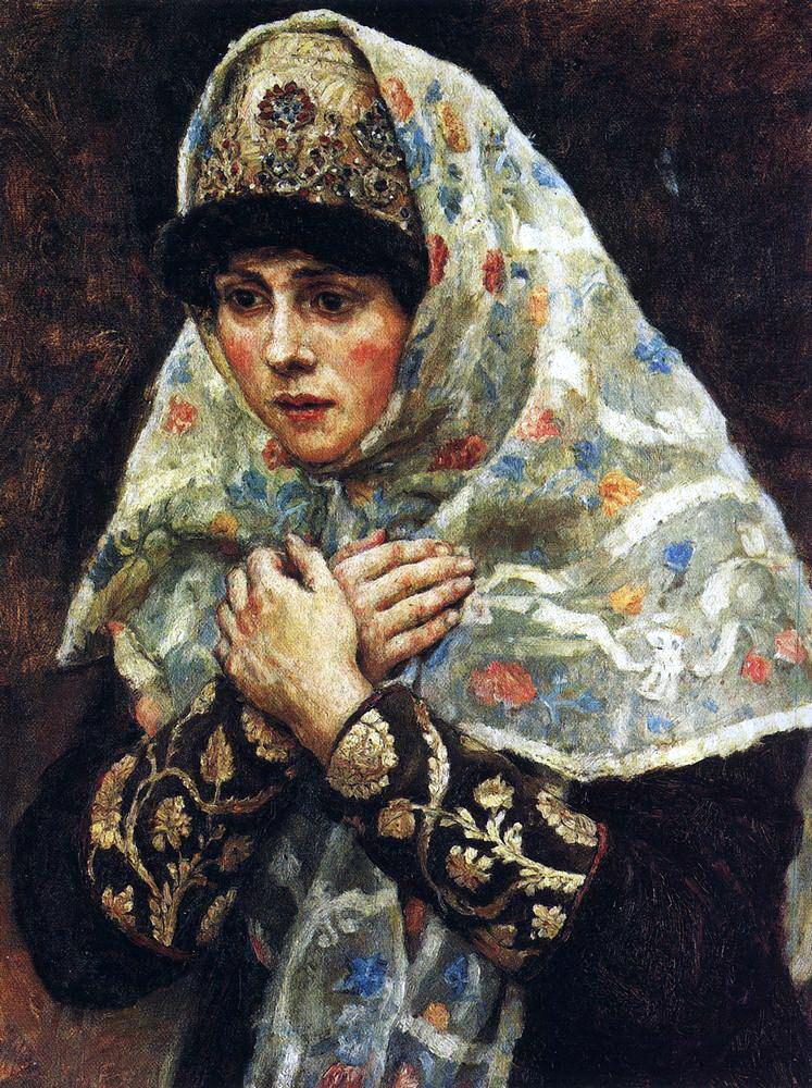 Василий Иванович Суриков. Боярышня со скрещенными на груди руками