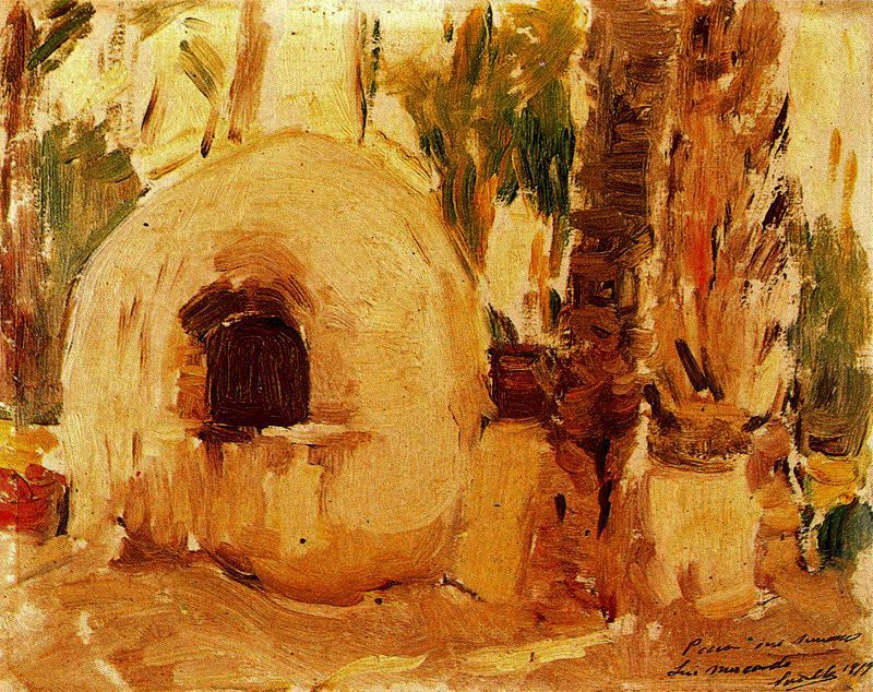 Joaquin Sorolla (Soroya). Bake in a palm grove in Elche
