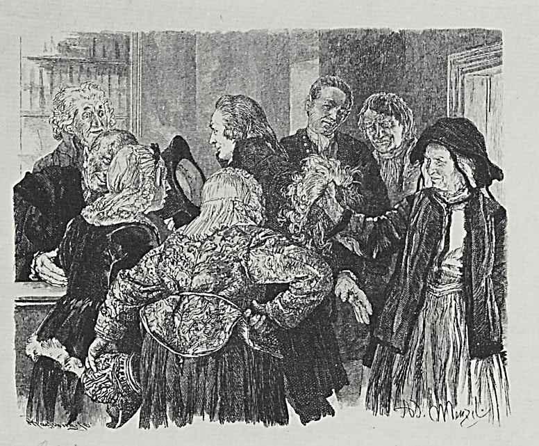 """Адольф фон Менцель. Иллюстрация к """"Разбитому кувшину"""" Генриха фон Кляйста, Старая Бригитта с париком в руке"""