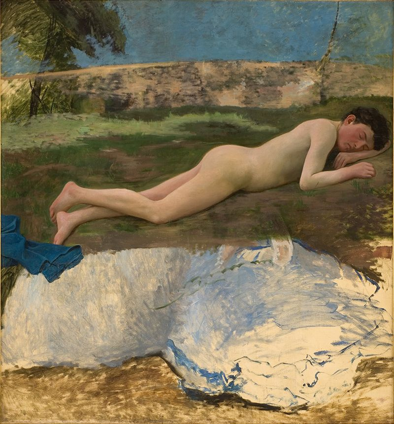 Фредерик Базиль. Обнаженный юноша, лежащий на траве