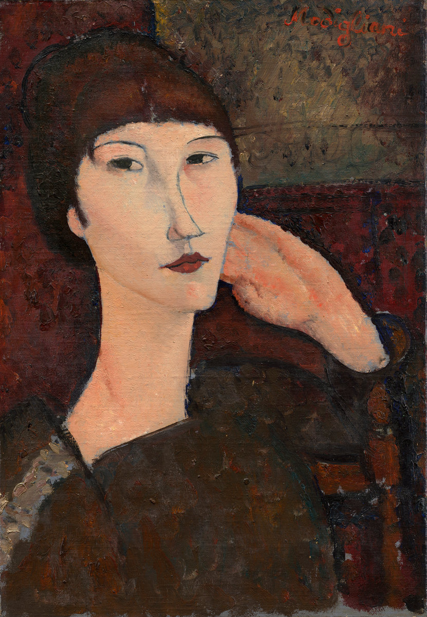 Amedeo Modigliani. Adrienne. Portrait of a woman with bangs