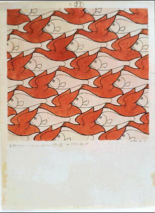 Мауриц Корнелис Эшер. Птицы и рыбы2