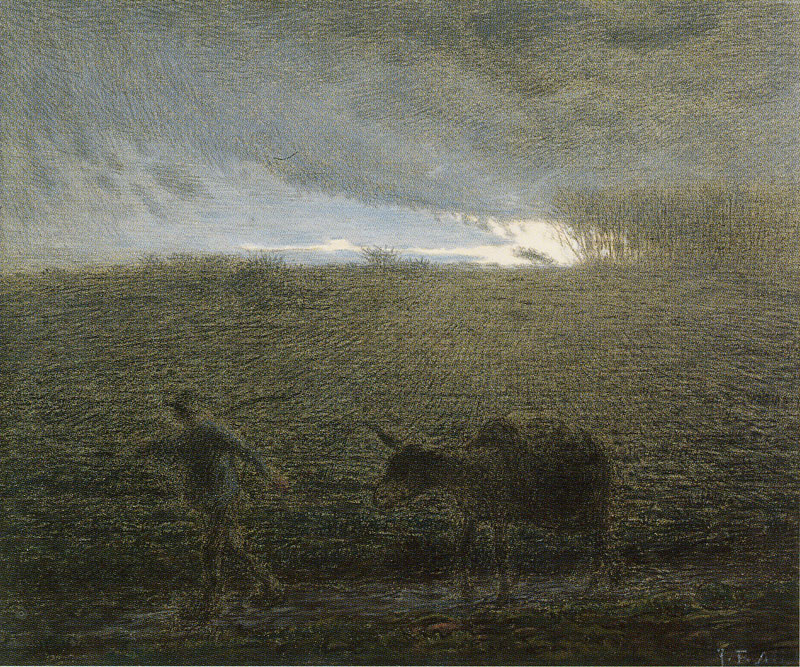 Jean-François Millet. Peasant with a donkey in the evening twilight