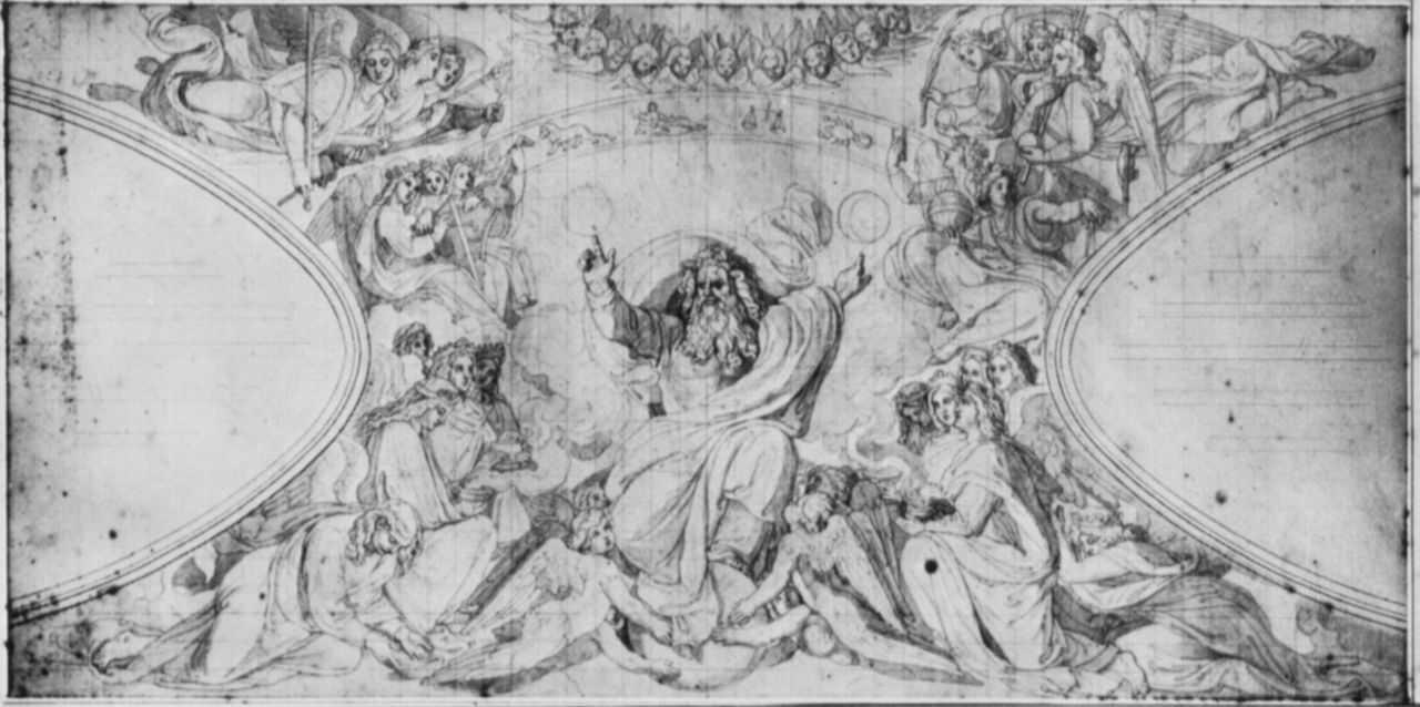 """Петер фон Корнелиус. Эскиз к циклу """"Троица"""" в мюнхенской Людвигскирхе: Сотворение мира"""