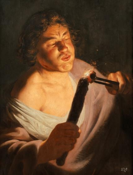 Ян Ливенс. Молодой человек, разжигающий факел