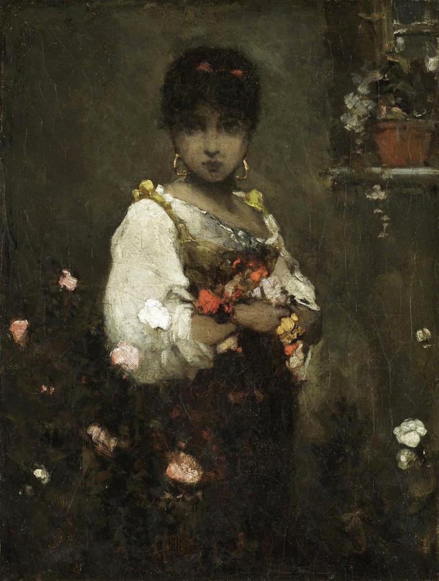 Wilhelm Kotarbinsky. Oriental beauty with flowers