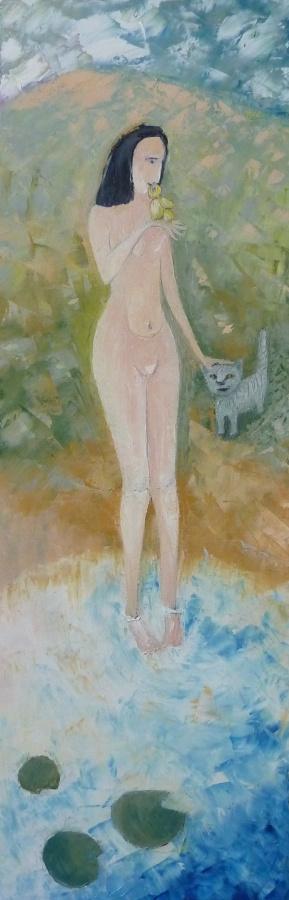 Svyatoslav Ryabkin. A girl with a bird and cat Girl with a bird and a cat