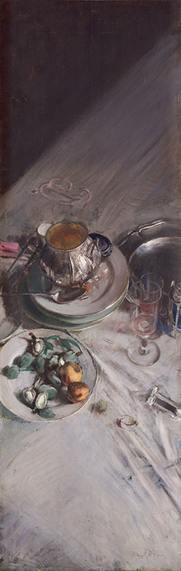Giovanni Boldini. Still life with dishes at the corner of the table