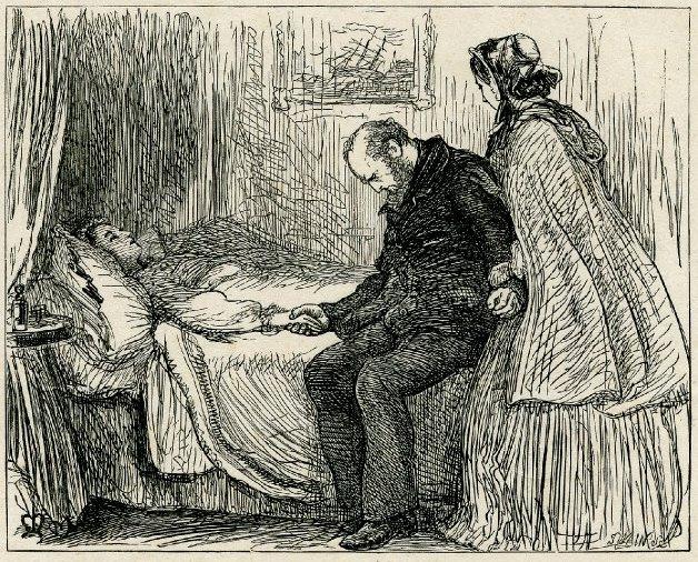 """Джон Эверетт Милле. Айсберг. У постели умирающей. Иллюстрация для Алекса Стюарта Харрисона, """"Один раз в неделю"""""""