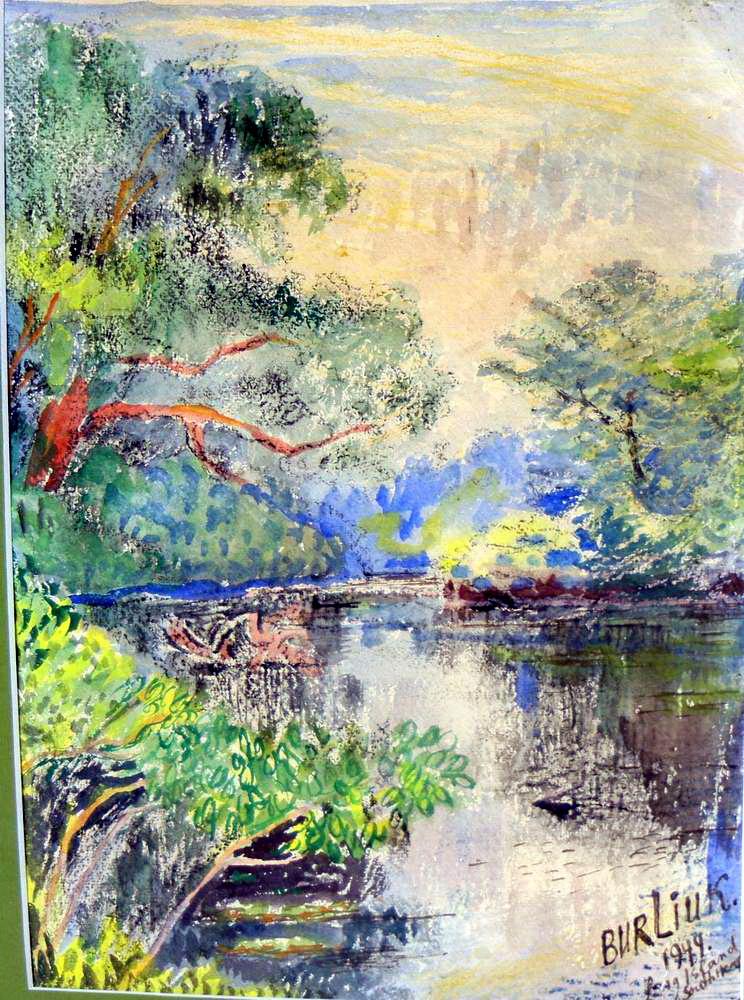 Давид Давидович Бурлюк. Летний пейзаж с рекой