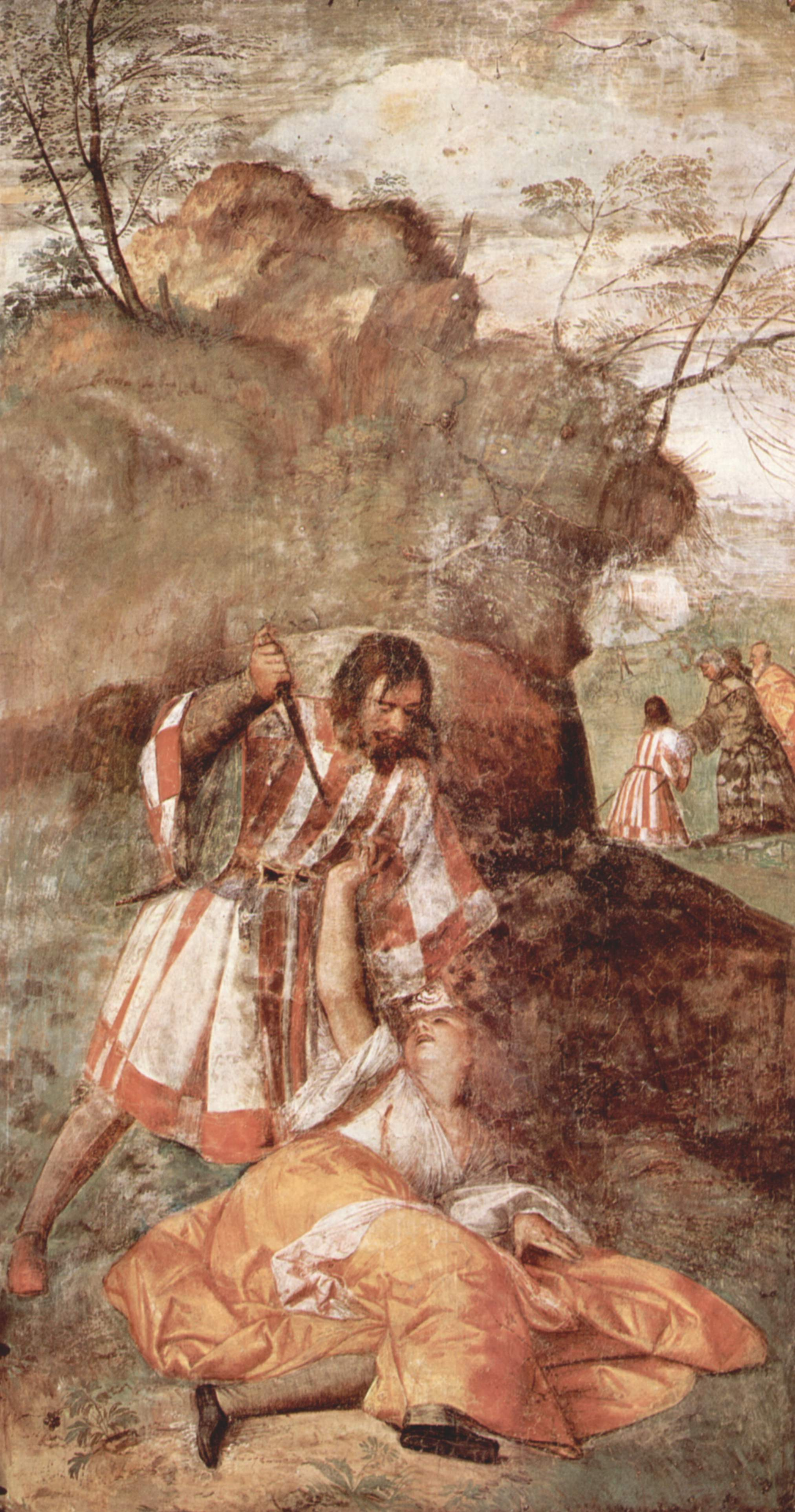 """Titian Vecelli. The frescoes on the story of """"the Wonderful works of St. Anthony of Padua"""". The miracle of the healing of women, wounded by a jealous husband"""
