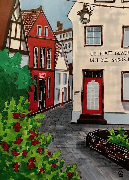 Larissa Lukaneva. Red house. Sketch.