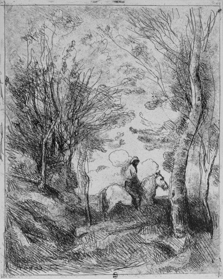 Камиль Коро. Большой всадник под деревьями
