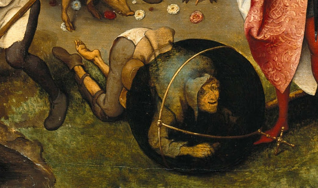 Pieter Bruegel The Elder. Flemish proverbs. Fragment: Being forced to stoop to succeed in this world - for success you must be cunning, dishonest