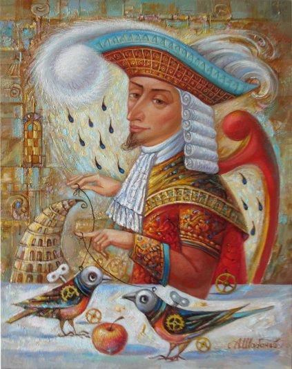 Alexander Nikolaevich Shabanov. WITH BIRDS ... with birds Oil on canvas 48 * 38