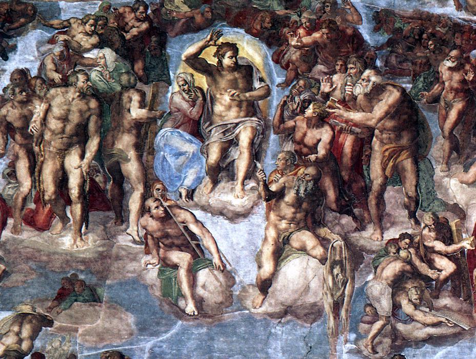 Микеланджело Буонарроти. Страшный суд. Первое кольцо персонажей вокруг Христа и Марии