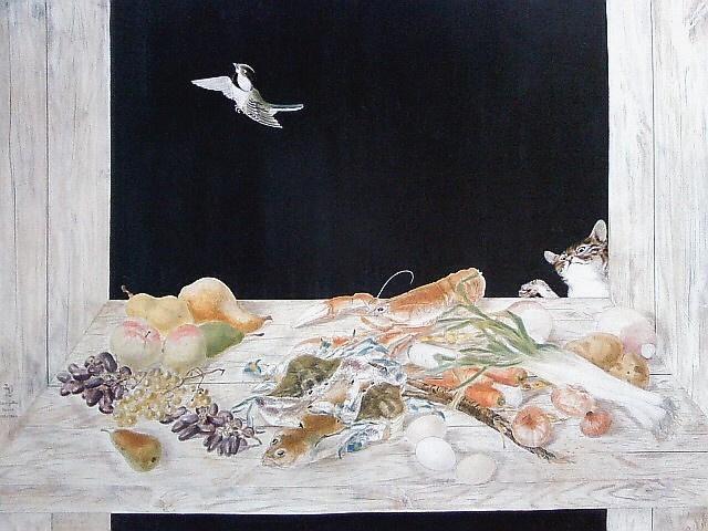 Цугухару Фудзита (Леонар Фужита). Натюрморт с кошкой