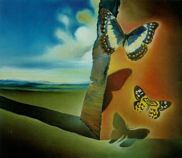 Salvador Dali. Landscape with butterflies