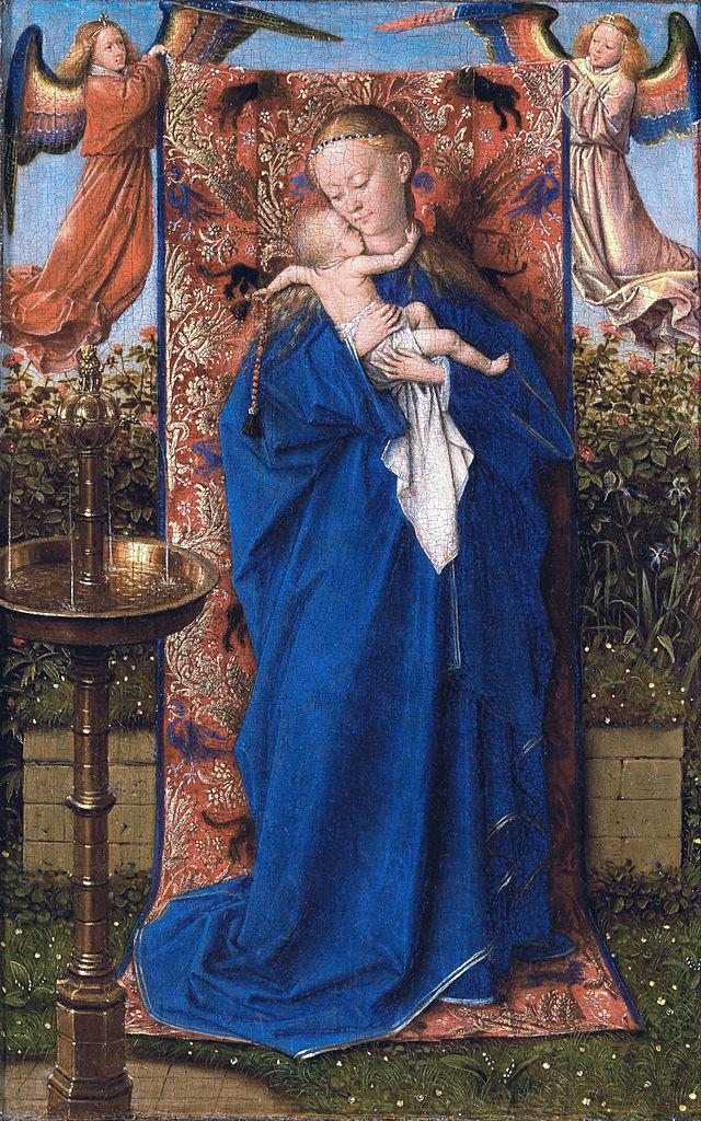 Ян ван Эйк. Мадонна с младенцем у фонтана