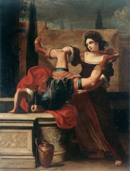 Элизабетта Сирани. Тимоклея, сталкивающая в колодец своего насильника
