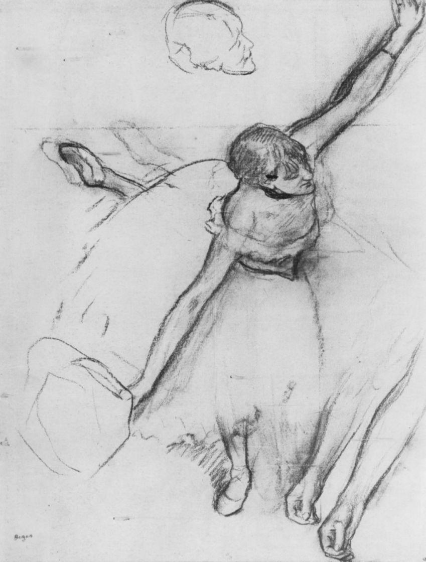 Edgar Degas. Dancer with a bouquet of flowers. Sketch