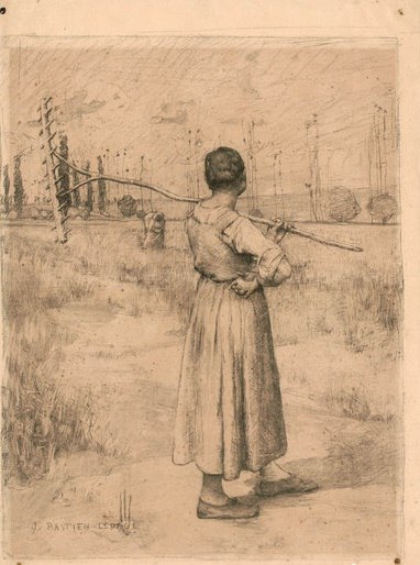 Жюль Бастьен-Лепаж. Девушка с граблями. (Из коллекции С.М. Третьякова).