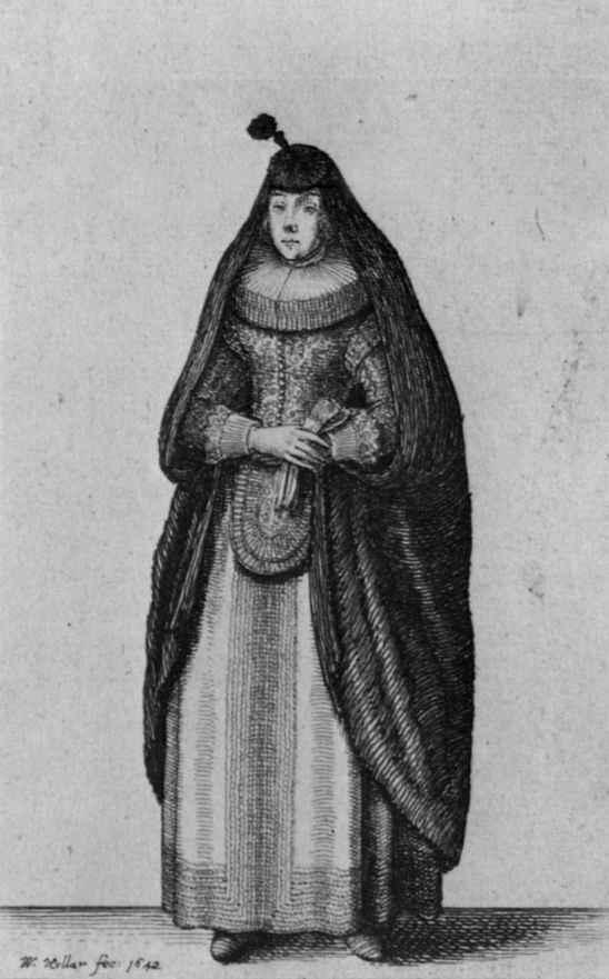 Венцель Холлар. Состоятельная кёльнская дама, в накидке от непогоды с круглой накладкой
