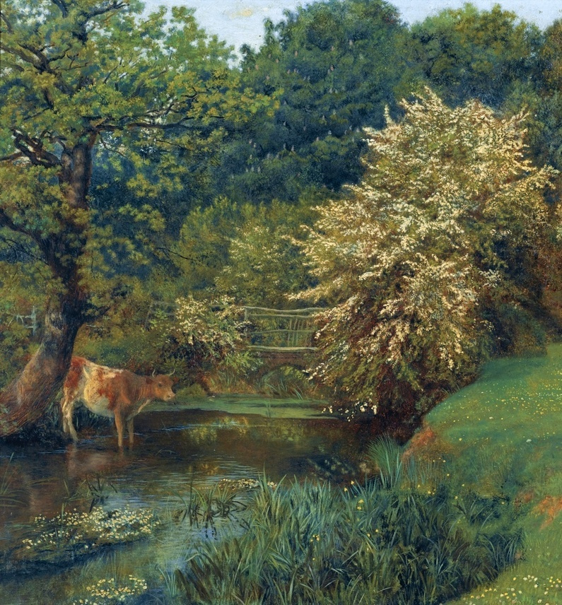 Arthur Hughes. Thrush. A fragment of the landscape